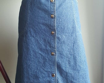 1970s 1980s Long Jean Denim Skirt with Buttons Down the Front - Plus Size