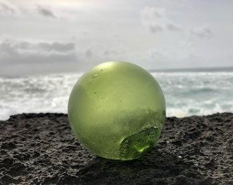 Japanese Glass Fishing Float, Alaska Beachcombed, Frosted, Green, Kanji