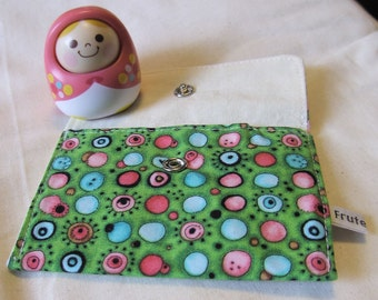 Coin Purse, gift card holder, green circle pattern Wallet, green purse, small purse, metal snap, dots pattern, cotton fabric