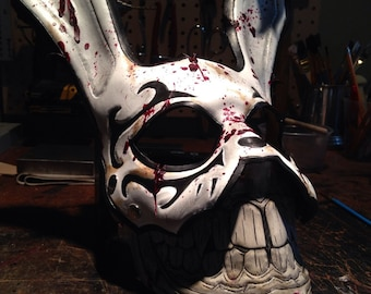 Leather rabbit mask with a grin. Bioshock inspired bunny mask by SkinzNhydez