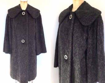 Vintage 50s 60s German charcoal mohair coat, 50s 60s swing coat