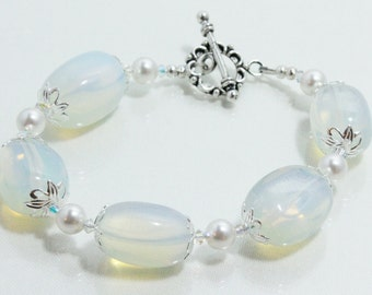 Opalite Bracelet with Swarovski Pearls and Crystals