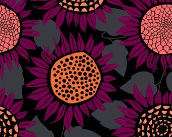 PRESALE: Sunflowers (in purple, KNIT) from Front Yard Collection by Sarah Watts for Cotton + Steel
