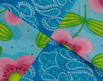 Potholder Four Squared Aqua Blue Ikat with Mod Pink Flowers and Lime Green