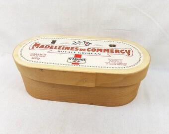 Wooden storage box, French Madeleines box, cookies holder, Vintage Storage Box, Vintage French Publicity, Advertising large box, sewing box