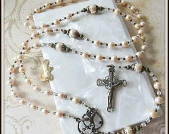 Christening Rosary for Catholic Baptism in Peach Swarovski Pearl w/ Bronze Holy Spirit Medal, Baptism Gift for Girls, Christening Gift
