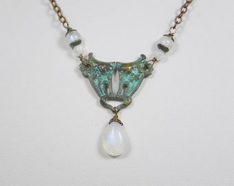 Rainbow Moonstone Teardrop and Beads with Victorian Focal and Verdigris Finish
