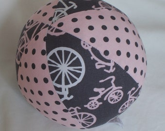 Pink Bicycles Fabric Boutique Ball Rattle Toy