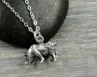 Cow Necklace, Sterling Silver Cow Charm on a Silver Cable Chain