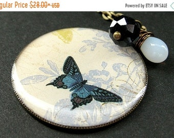 MOTHERS DAY SALE Cadet Blue Butterfly Necklace. Charm Necklace with Midnight Blue Crystal and Wire Wrapped Teardrop. Handmade Jewelry.
