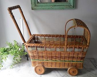 Wicker Doll Wagon