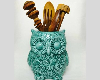 Teal Large utensil crock holder - Flower Vase - Utensil Crock - owl planter - Kitchen organization - Ceramic utensil holder - Wedding gift