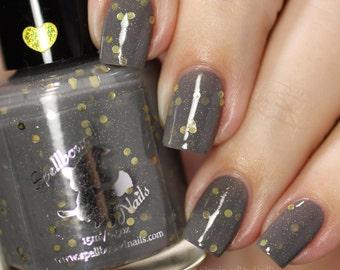 Stormy Snitch - custom Harry Potter inspired gray gold dot glitter nail polish