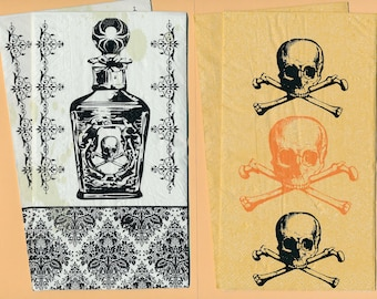 PN145 Paper Napkins by CR Gibson ~ 4.5 x 8 ~ Elixer Bottle of Poison Mr Bones Set of 4