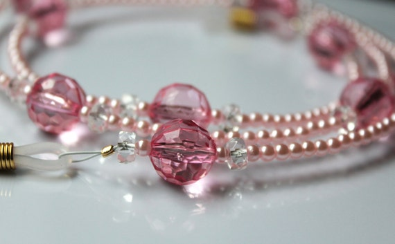 Pink Eyeglass Chain Pink Bead Necklace for Glasses, Pink Reading Glasses, Pink Accessory Gift for Mother