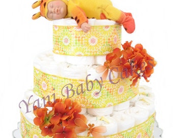 Diaper Cake Baby Shower Centerpiece / Baby Butterfly Yellow & Orange Diaper Cake 3 Tier/ Baby Shower Gift