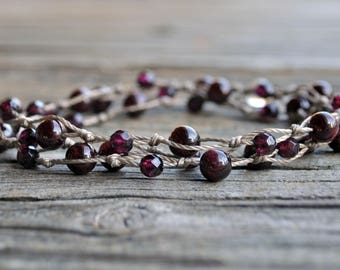 Base Chakra Necklace, Garnet Necklace, Healing Necklace, Meditation Necklace, Yoga Necklace, Crystal Healing, Root Chakra