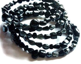 Memory Wire Women's Bracelet Black Gray Indian Crystal Beads Black bracelet Black crystals Black Gray many links