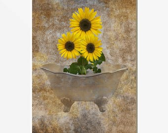 Sunflower Wall Decor, Rustic Sunflower Bathroom Powder Room Moderm Matted  Wall Art