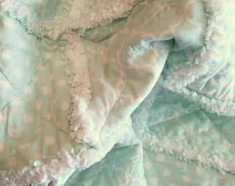 Rag Quilt, Quilt, Mint Green, Cream, Contemporary, Neutral, Nursery, Baby, Toddler