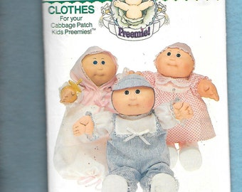 Vintage 1984 Butterick 346 Cabbage Patch Kids Outfits For Preemies Cabbage Patch Dolls,