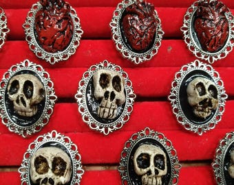 Skull or Human Heart Rings (adjustable)