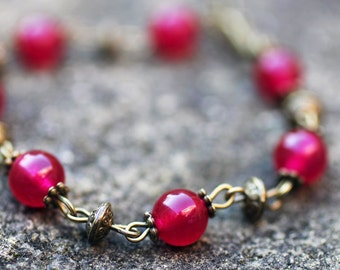 Rose Jade and Bronze Bracelet