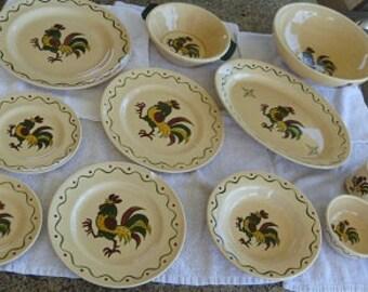 PoppyTrail Rooster Green Dinnerware