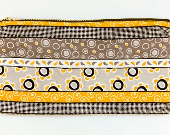 Yellow and black linear patterned fully lined cotton fabric pencil pouch with metal zipper washable