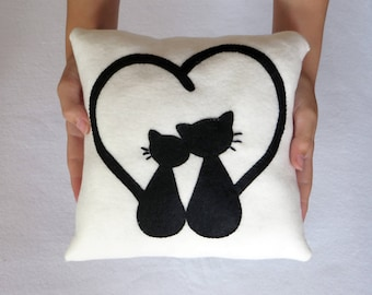 Cat pillow, anniversary gift, cat lover gift, cat, black cat, gift women, throw pillows, cat pillows, wedding gift,  cats, black cat gifts