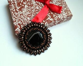 Agate Brooch, Bead embroidered Brooch, Black Agate Brooch, Beadwork Brooch , Handmade Jewelry