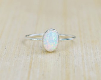 Silver Opal Ring, Delicate Silver Ring, Stacking Ring, Stacking Opal Ring, Sterling Silver Ring, Blue Opal, Fire Opal