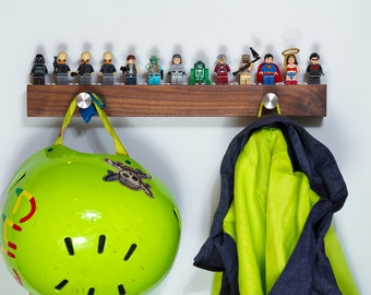 Hardwood Shelf for 13 to 17 Lego Minifigs with Hangers
