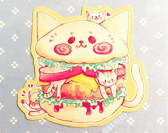 Cat Burger Vinyl Sticker