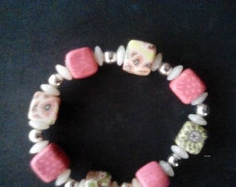 Vintage Pink Stretch Bracelet hand painted beads