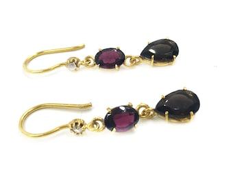 Garnet and Smoky Quartz Earrings, garnet earrings, red garnet, long dangling earrings, fine jewelry, tiny diamond zirconium, red and brown