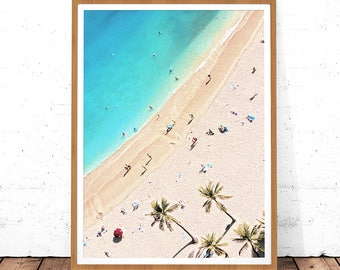 Aerial Beach Print, Modern Beach Print, Digital Download, Printable Poster, Aerial People Beach, Seaside Prints, Aerial Photography, Poster
