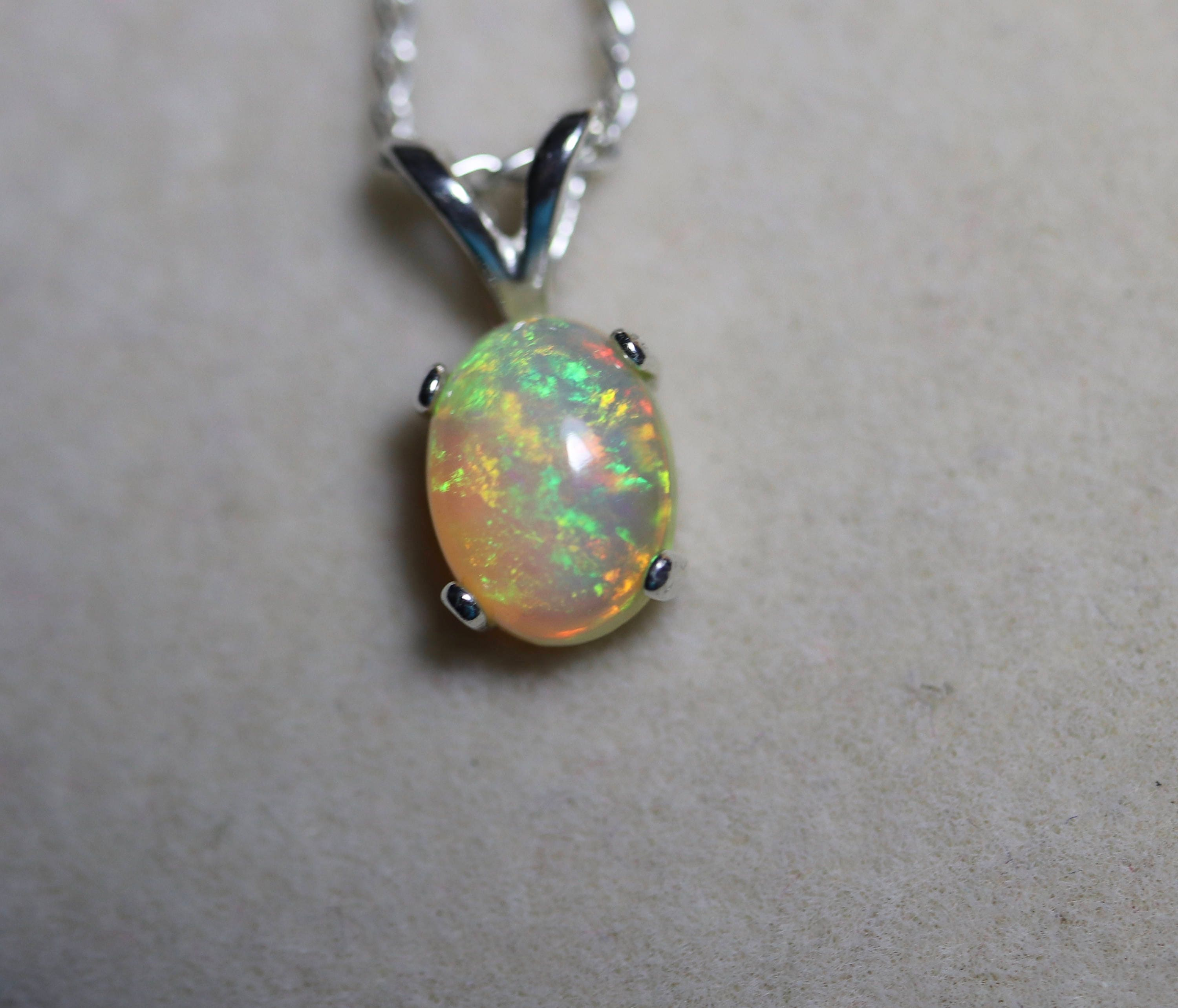 opal necklace silver blue solid pendant natural il real fullxfull genuine rainbow and fire listing