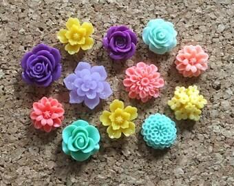 Flower Thumbtacks or Magnets Set of 12 - (#178) dorm decor, hostess gift, weddings, bridal shower, baby shower, gift, teacher gift