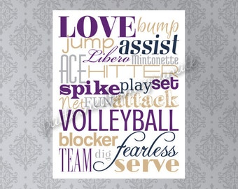Volleyball Subway Art/ Printable Sign/ Volleyball Wall Art/ Teen Athlete Gift/ Volleyball Team Gift/ Digital Print/ Volleyball Player