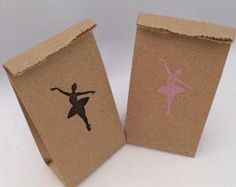 Ballerina Party Bags: 10+ Kraft Paper Ballerina Favor Bags, Ballet Party Supplies