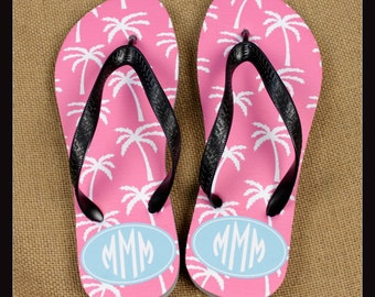 Flip Flops Monogrammed Gift Bridal Party Bachelorette Party Wedding Teacher Graduation Personalized Custom Flip Flops Sorority Gifts for Mom