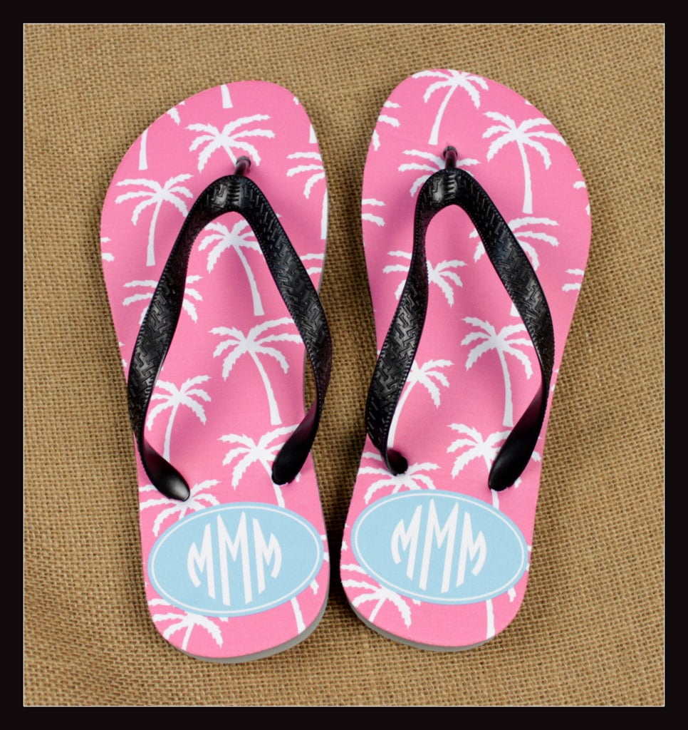 Flip Flops Monogrammed Gift Bridal Party Bachelorette Party Wedding ...
