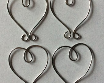 WIRE HEARTS - Pack x 10 - SILVER