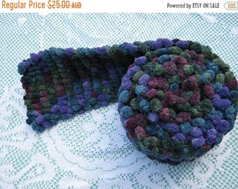 ON SALE ON Sale - Pom Pom Scarf Hand Knitted in shades of purple, green and blue