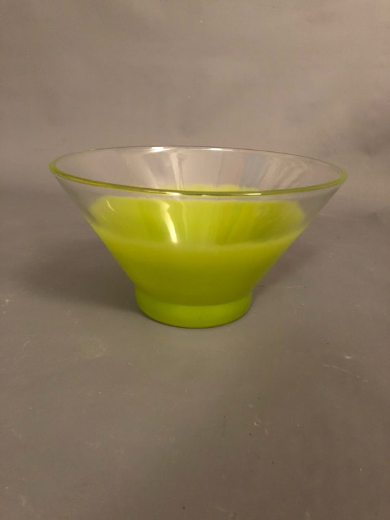 Mid-Century Dip & Chip Green glass bowl  with a gold trim.