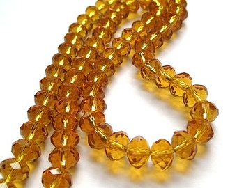 Golden Topaz Glass Beads. 8mm x 6mm Faceted Rondelles, Amber Glass Crystals, Fall Color, Autumn Harvest Jewelry Making - 36 Pieces SP502