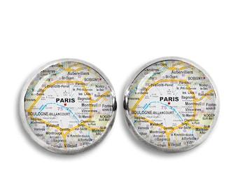 Paris Stud Earrings Paris 12mm Earrings Paris Map Earrings Travel Wander Jewelry