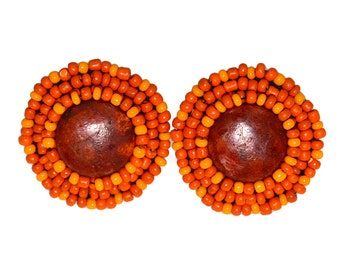 Orange Earrings Beaded Boho Western Beadwork Bead Bohemian Ethnic Rustic Retro Mid Century Everyday Stud Post Tribal Bright Circle Round Big