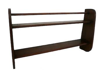 Vintage Handmade Blackwood Rustic Plate Display Rack with Shelf